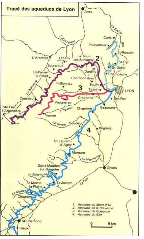 Tracés des aqueducs qui alimentaient Lyon autrefois