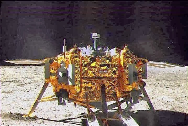 Chang'e 3 on surface of moon.