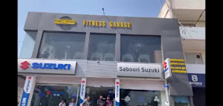 Fitness garage Gym Front View and Address