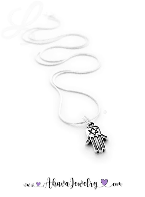 Hamsa or Chamsa Charm on a sterling silver necklace chain