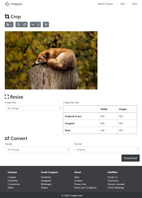 schermata per modificare un'immagine