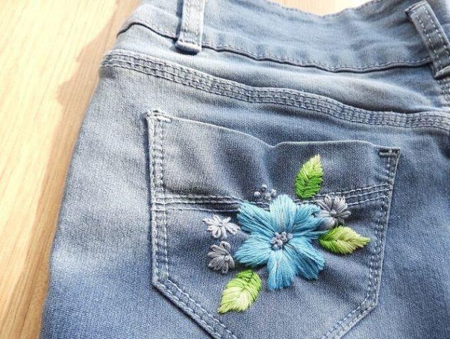 Mẫu thêu hoa trên quần jean đẹp - Hình 1