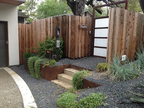 inspirasi pagar kayu modern minimalis