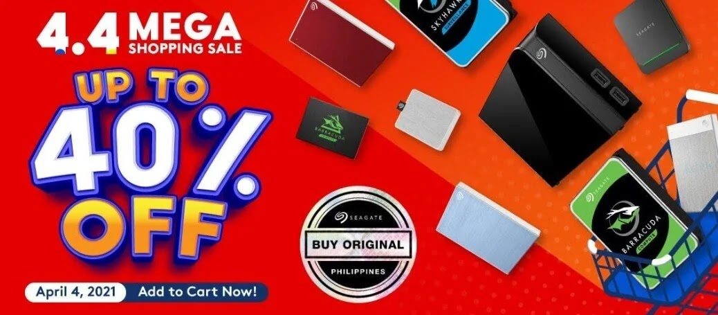 Up to 40% Off on Seagate Products at Shopee 4.4 Mega Shopping Sale!