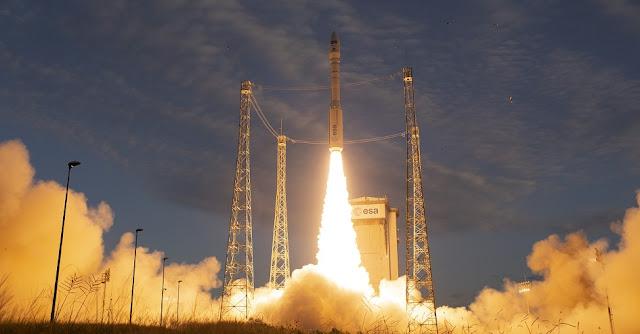 Aeolus lifts off. Credit: ESA - S. Corvaja