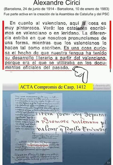 Alexandre Cirici, Compromís de Casp, Caspe, compromiso, valenciano, lengua valenciana