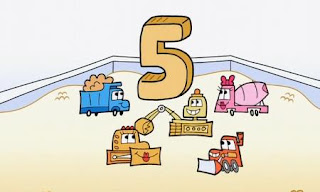 Five trucks work together to build a number 5. Sesame Street Count On Elmo