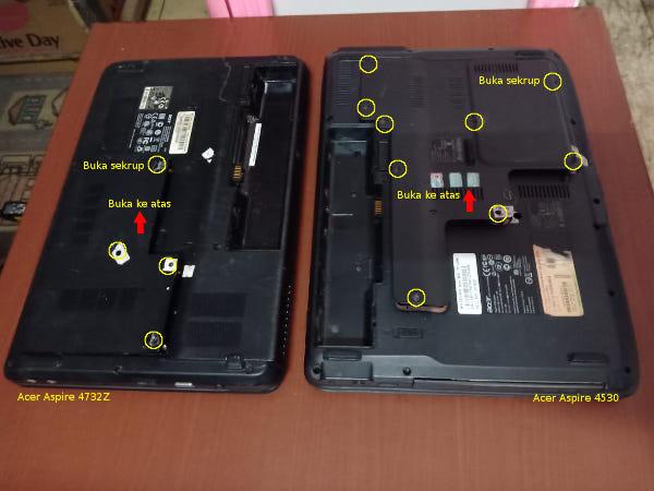 Membuka penutup slot ram laptop tebal Acer cara menambah ram laptop