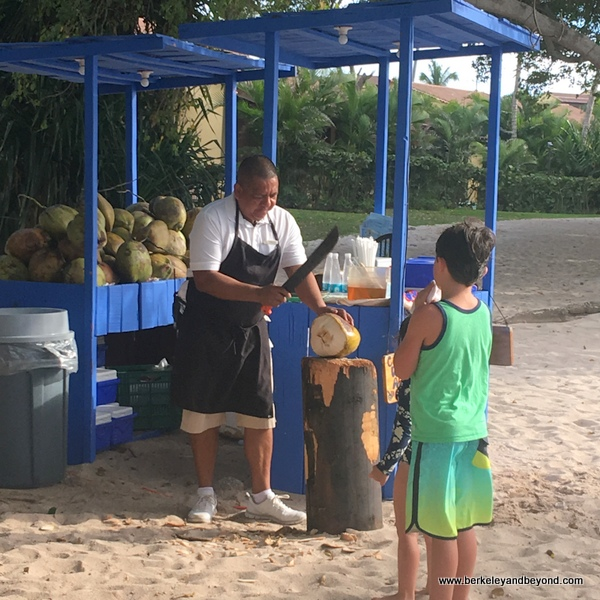 chef prepares fresh coconut drink at Four Seasons Resort Punta Mita in Mexico