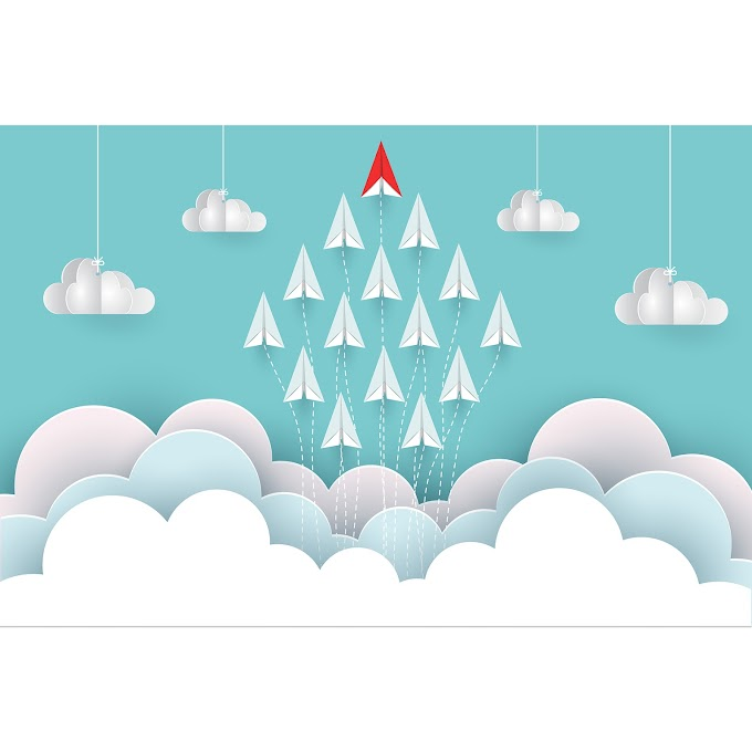 Paper airplane red and white are fly up to the sky between cloud natural landscape go to target startup leadership concept of business success creative idea illustration vector cartoon Free vector