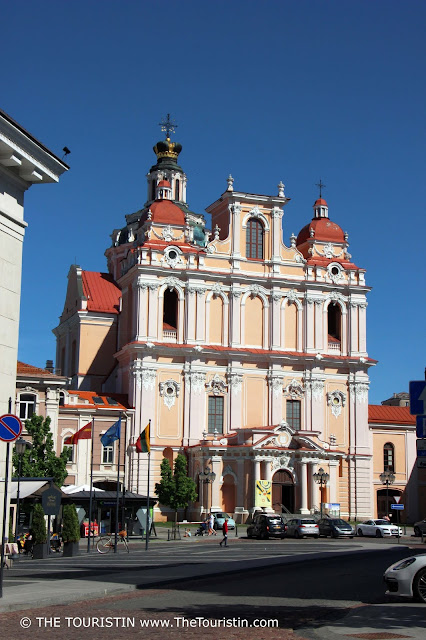 Pastel facade of the Saint Casimir Jesuit church in Vilnius in Lithuania.