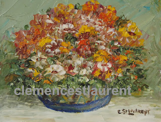 Heart-warming bouquet, 4 x 5 oil painting of orange, yellow and red flowers by Quebec artist Clemence St. Laurent