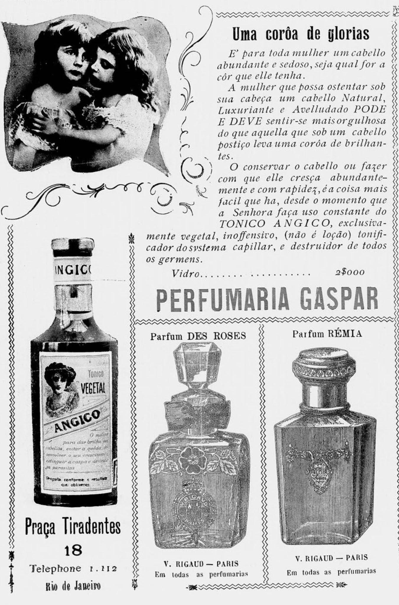 Anúncio antigo da Perfumaria Gaspar veiculado em 1911
