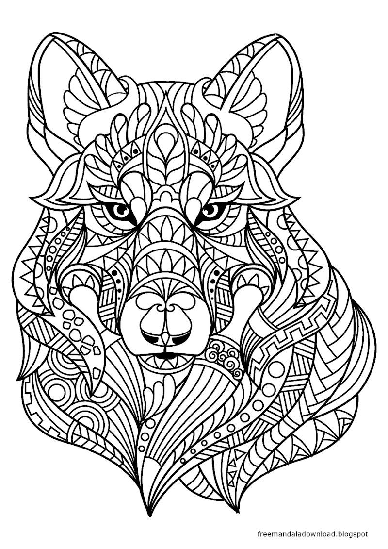 malvorlagen  wolf mandala zum drucken  free mandala