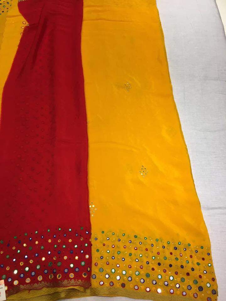 Crep mirror work sarees buy online sarees city fashions for Mirror work saree