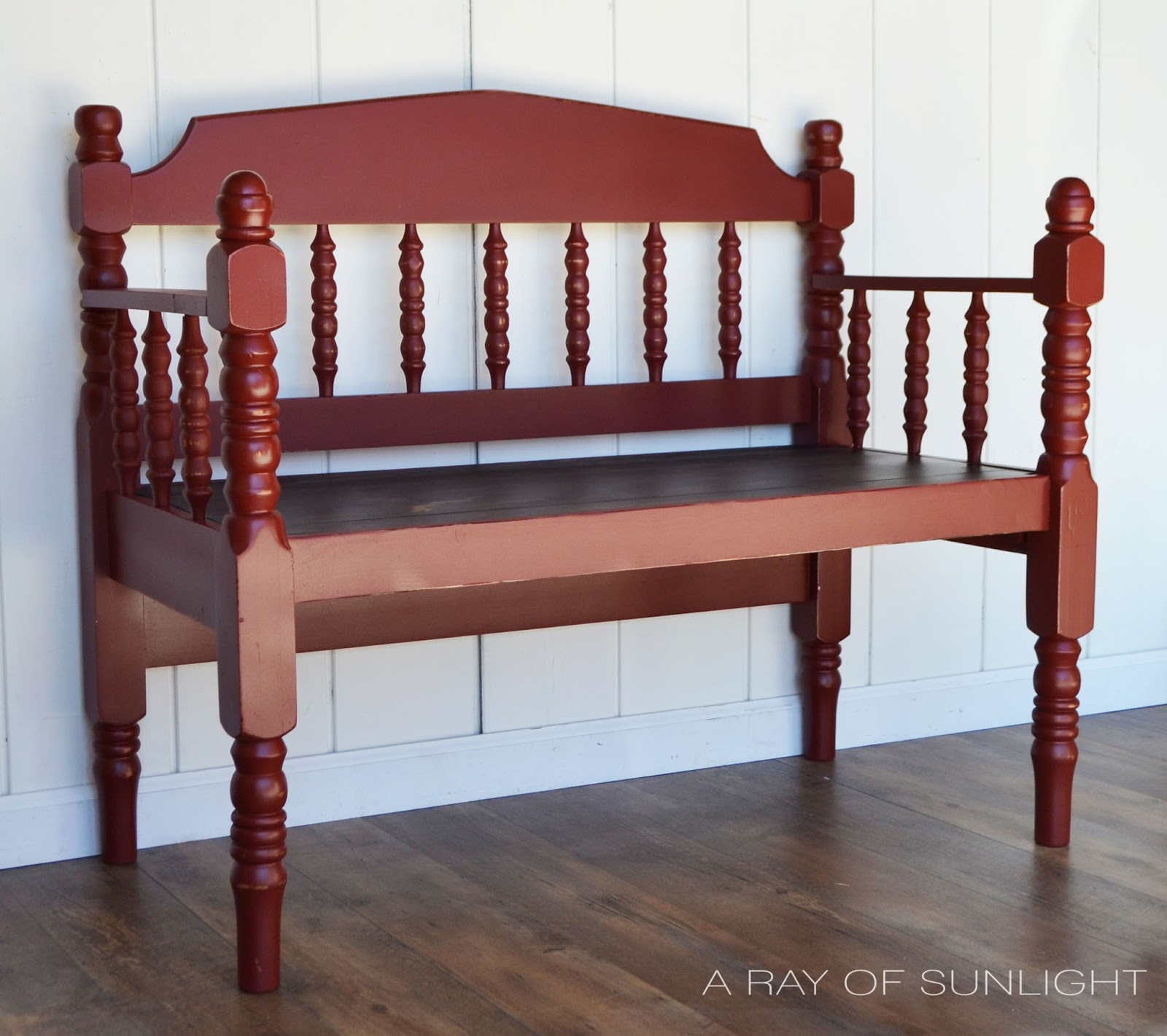 The Adorable Upcycled Red Bench Makeover - A Ray of Sunlight on roof finishes, plumbing finishes, outdoor finishes, house paint finishes, industrial finishes, nichiha finishes,