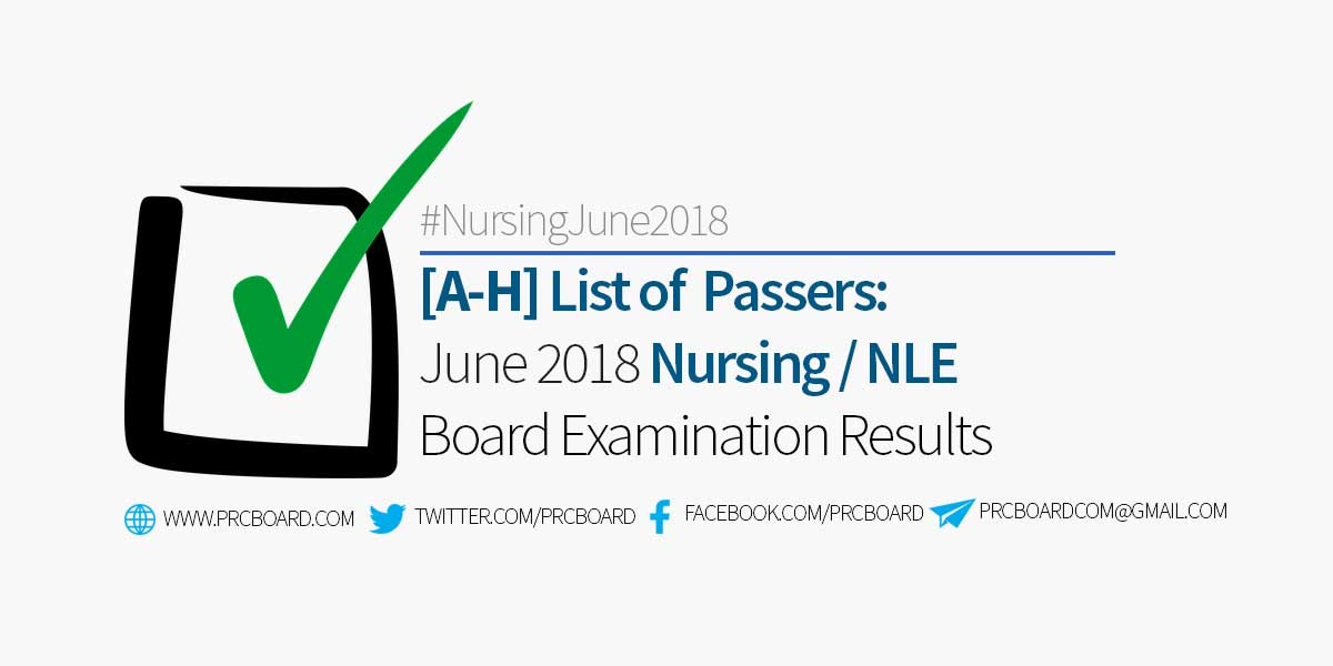 Nursing Board Exam Result June 2018 Nle A H Passers