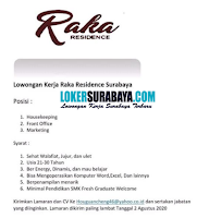 Bursa Kerja di Raka Residence Surabaya Agustus 2020