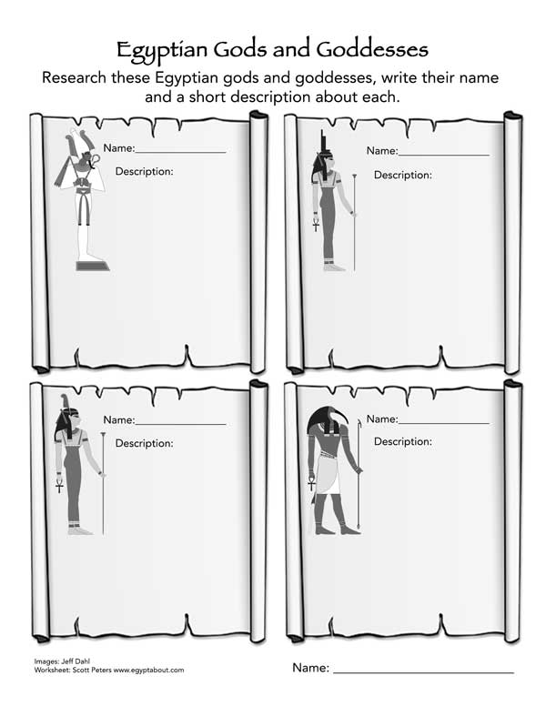 Egyptian Gods and Goddesses Worksheet