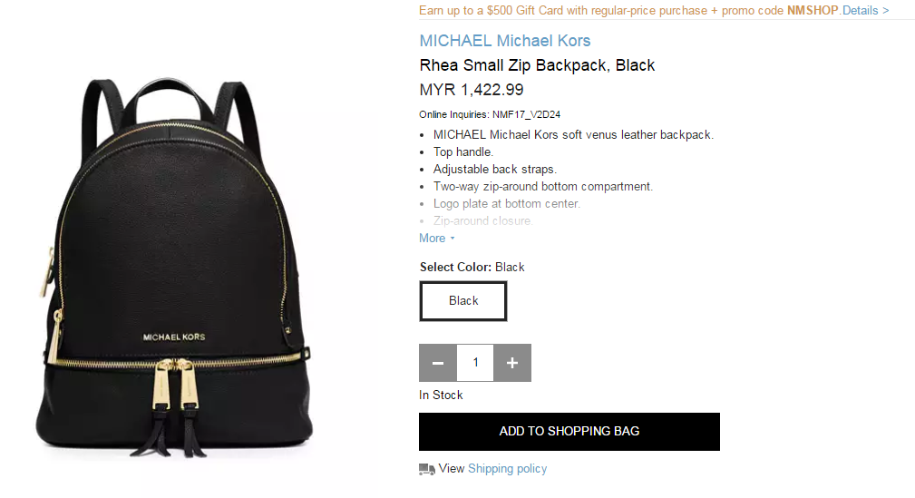 c403975dac7c A luxe MICHAEL Michael Kors backpack in pebbled leather. The wraparound top  zip opens to a logo-lined interior with 3 pouch pockets and 1 zip pocket.