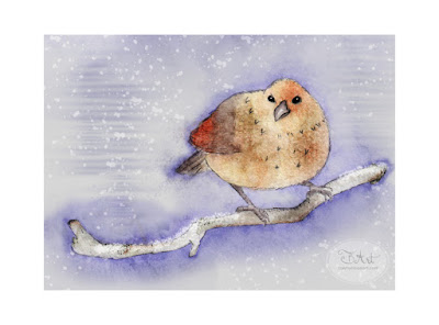 Whimsical Winter Bird Derwent Inktense Watercolor Illustration by Tawnya Boe