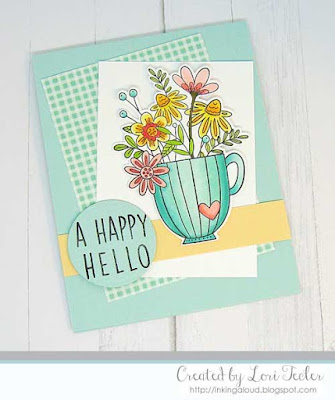 A Happy Hello card-designed by Lori Tecler/Inking Aloud-stamps from Reverse Confetti