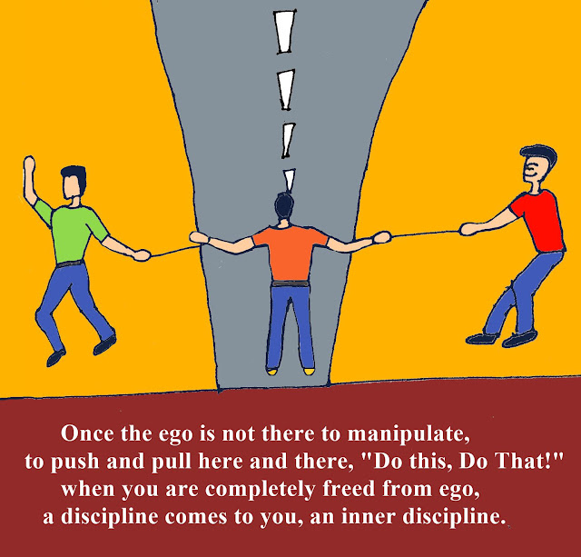"Once the ego is not there to manipulate, to push and pull here and there, ""Do this, Do That!"" when you are completely freed from ego, a discipline comes to you, an inner discipline."