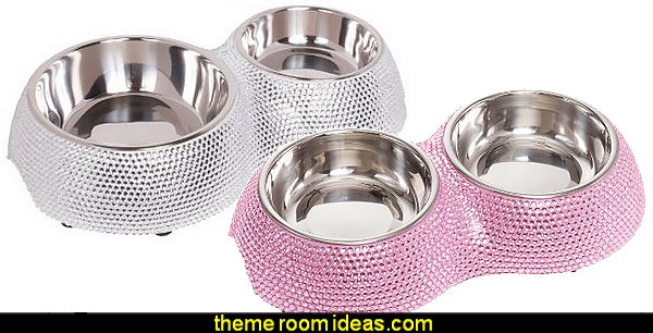 Crystal Rhinestone Stainless Steel Small Dog Bowls
