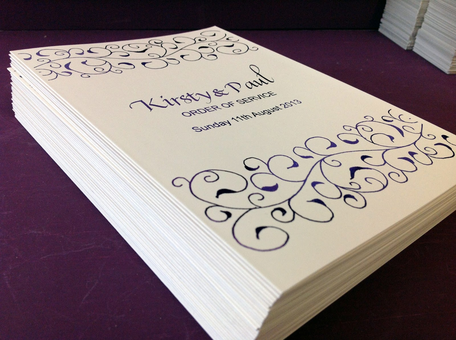 Cadbury Purple Wedding Invitations: Inspired By Script: Kirsty & Paul