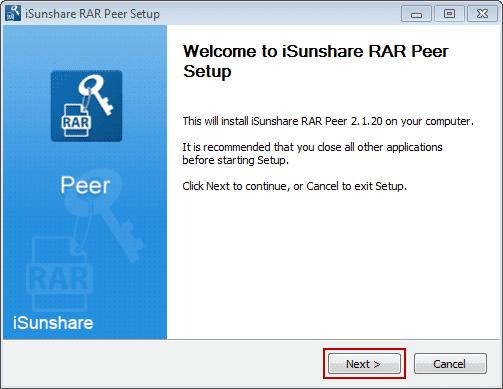 install iSunshare RAR Peer in LAN