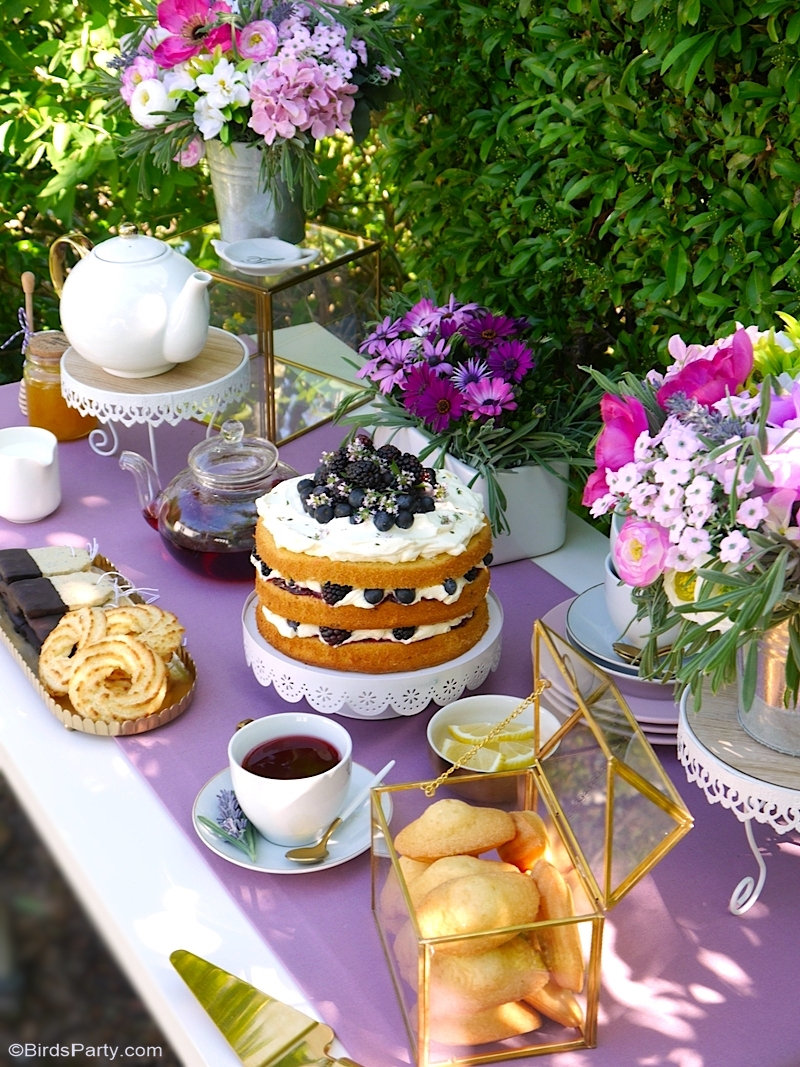 A Lavender Tea Party and Tablescape for Mother's Day - easy but pretty styling tips and ideas, recipes and DIY printables to celebrate mom! by BirdsParty.com @birdsparty #teaparty #lavendertablescape #gardenparty #mothersday #mothersdayteaparty #mothersdayparty #mothersdayrecipes #floraltablescape #lavenderfloraltable #mothersdaypartyideas