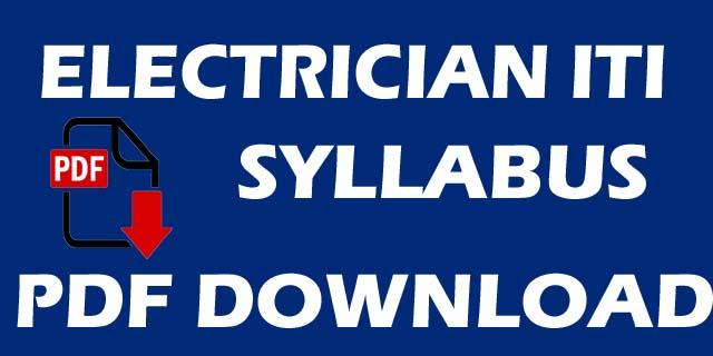 ITI ELECTRICIAN SYLLABUS PDF BOOK