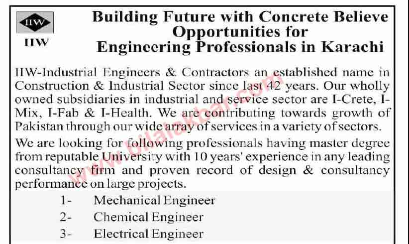 Mechanical, Chemical and Electrical Engineer Jobs in Construction and Industrial Sector CV Selection