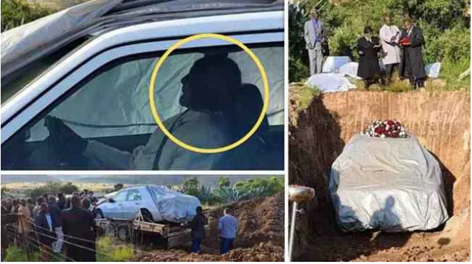 OMG!!! Family Buries Man In His Beloved Mercedes Limousine To Honour His Last Wish – (Photos And Video)