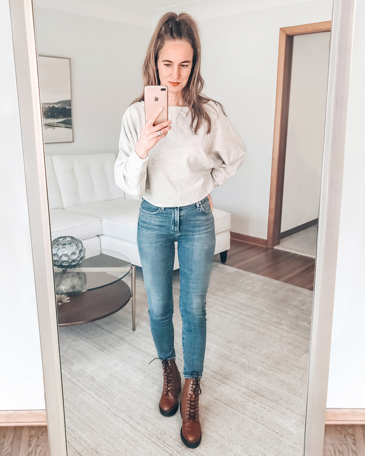 style blogger, grey sweatshirt, brown lace up combat boots, skinny jeans, spring outfit