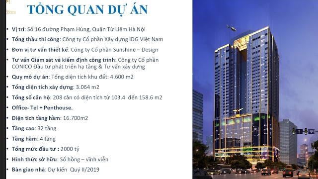 Giá bán chính sách dự án chung cư Sunshine Center 16 Phạm Hùng Hà Nội