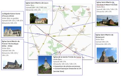 carte des 6 églises à visiter