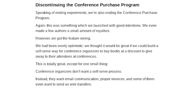 Announcement of the discontinuation of the Conference Purchase Program in the Leanpub Author Update newsletter