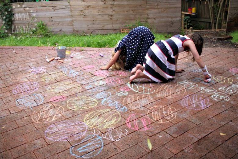 outdoor activities for kids - backyard chalk twister