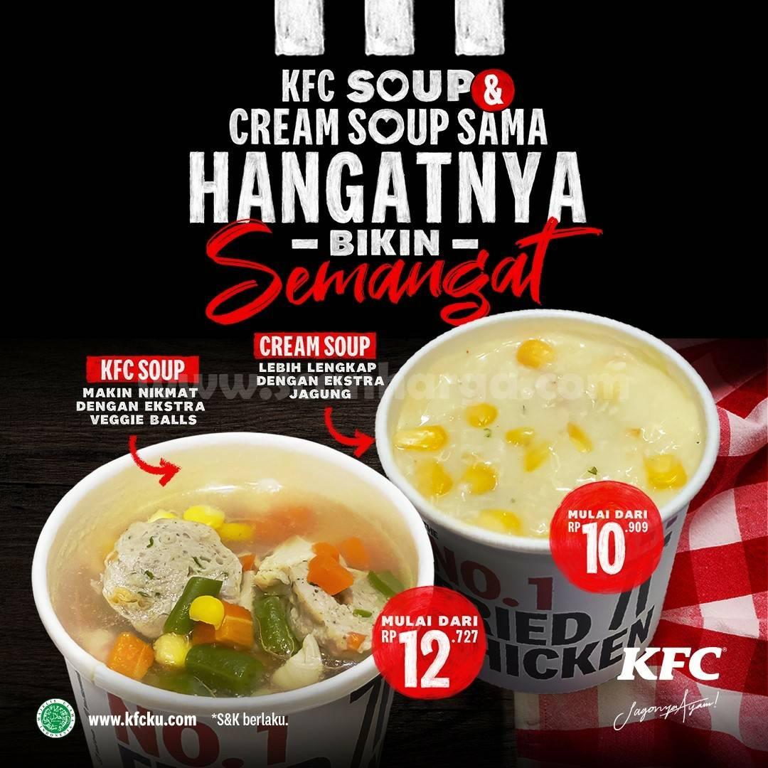 Promo KFC hari ini 2021, ada sup ayam dan cream sup hangat dengan harga hemat. Harga Cream Soup Ekstra Jagung KFC Rp 10 Ribuan.