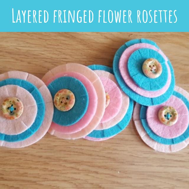 Layered fringed flower rosettes