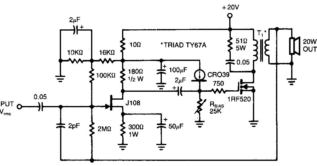 Forum Diagram: IRF520 Audio Amplifier 20W
