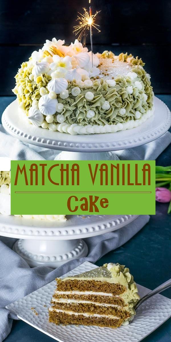 Matcha Vanilla Cake #cakerecipes