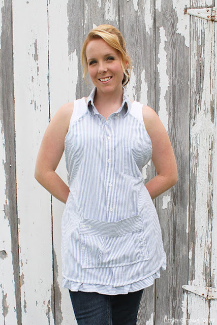Learn how to make this sweet apron from a men's dress shirt so you can look cute while you cook! Perfect for beginner sewers!   LoveGrowsWild.com