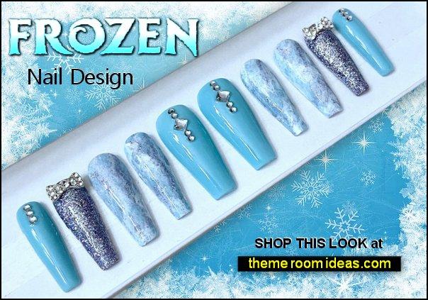 Frozen Inspired Luxury Press on Nail Set  frozen themed nail design