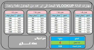 اكسل | مهارات البحث بالدالة  VLOOKUP  +CHOOSE البحث فى اى عدد من الجداول How To Use vlookup with Choose Function