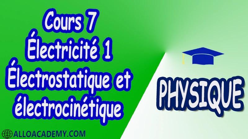 Cours 7 Électricité 1 ( Électrostatique et électrocinétique ) pdf