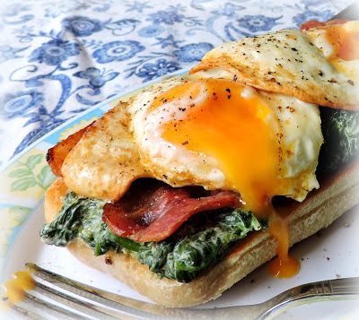 Bacon, Egg & Creamed Spinach on Toast