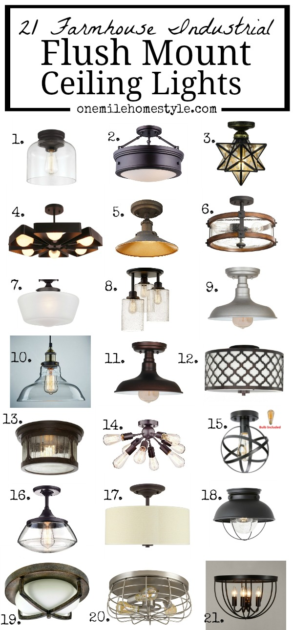 Got low ceilings? You need this round-up of 21 Farmhouse Industrial Flush Mount Ceiling Lights as inspiration for adding farmhouse charm to you home!