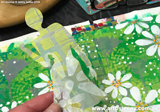 lifting the mask off Jenny's garden of daisies art journal page step-by-step tutorial